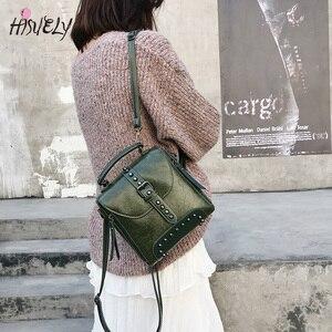 Image 2 - 2020 New Retro Soft Women PU Leather Bag Rivet Messenger Bags Crossbody Fashion Designer Shoulder Bag Purses And Handbags Q3
