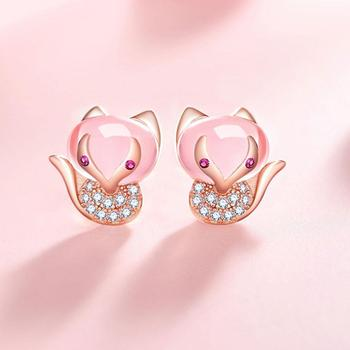Crystal Little Fox Stud Earrings Fashion Lady Girl Jewelry Gift Ring Romantic Cute Fox Sweet Sweet Innocent B3R0 image