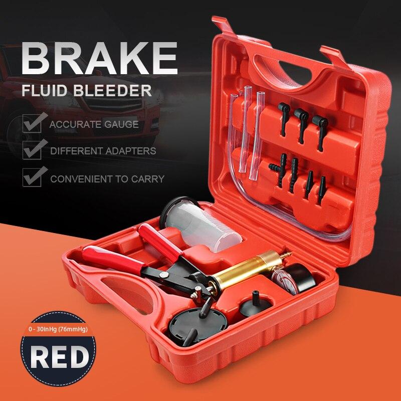 Hand Gehalten DIY Brems Flüssigkeit Bleeder Verwenden Werkzeuge Vakuum Pistole Pumpe Tester Kit Aluminium Pumpe Körper Druck Vakuum Gauge Multi- funktionale