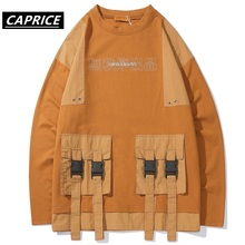 CAPRICE 2019 Patchwork Pocket T Shirt Men Autumn Winter Harajuku Fashion Ribbons Male Long Sleeve Hip Hop Casual Streetwear Tops