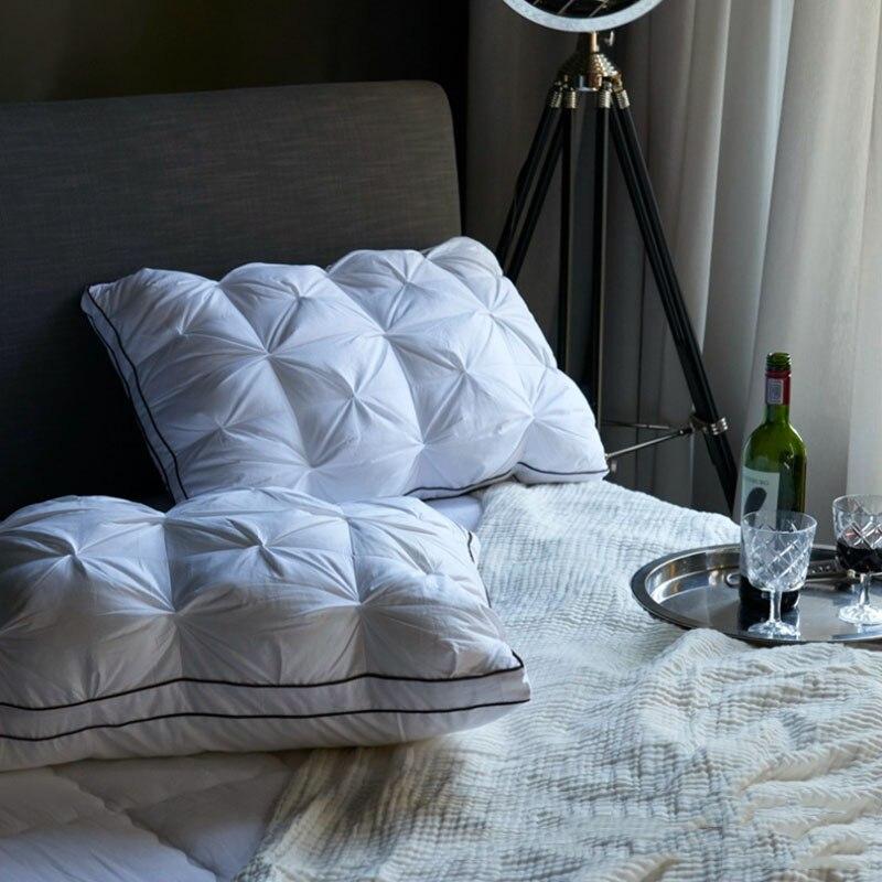 1 шт. супер мягкая подушка из пуха белой утки/гуся, антибактериальная подушка для шеи, элегантная домашняя подушка для постельного белья|Подушки на кровать|   | АлиЭкспресс