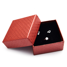 4 Colors Solid color Cardboard Paper Box Case Elegant design gift box for rings earrings necklaces simple Storage packing Box