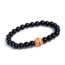 Oiquei charme contas de basquete frisado pulseira masculina clássico 8mm preto pedra natural stretchly pulseiras jóias pulseira masculina