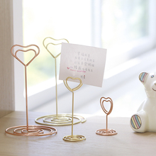 Cute heart shape paper clip creative message folder metal clips office supplies desk decoration stationary name card holder new