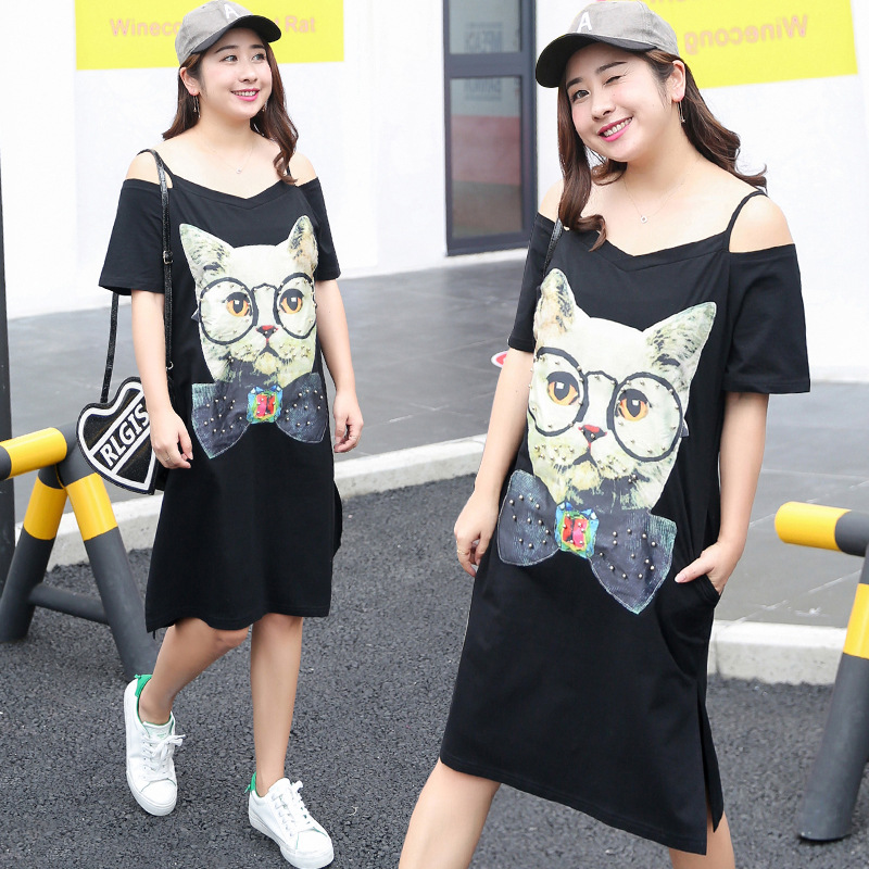 [Xuan Chen] Spring And Summer New Products Plus-sized WOMEN'S Dress Large GIRL'S Cat Dress Camisole Skirt On Behalf Of A004