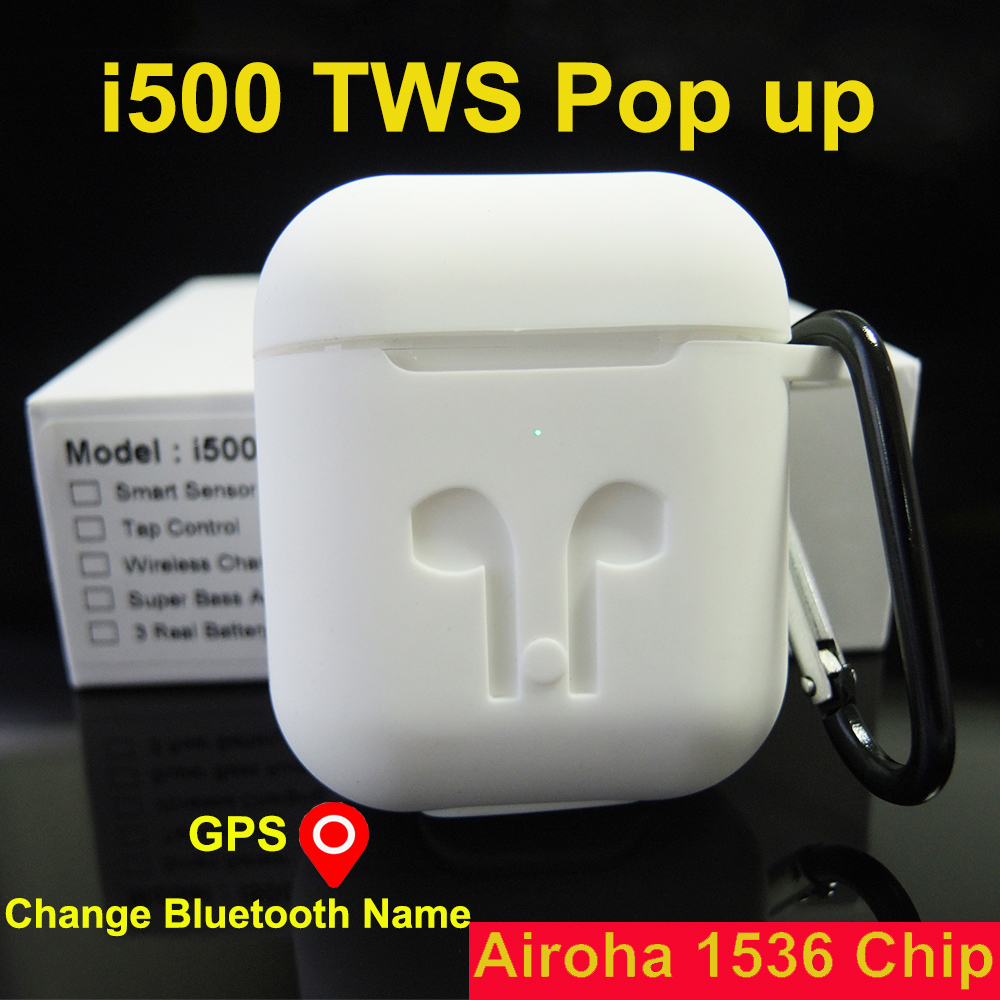 i500 <font><b>TWS</b></font> Airoha 1536U-chip bluetooth earphone GPS Location for IOS Re-name Wireless Headphones Earphones <font><b>Smart</b></font> <font><b>Sensor</b></font> i500tws image