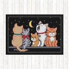 лучшая цена Five Kittens Embroidery Cross Stitch Kit DIY Crafts Painting 14CT 11CT DMC Cross Stitch Kits Printed Fabric Count Needlework Set