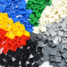 1x1 DIY строительные блоки фигурные кирпичи керамическая плитка образовательные креативные кубики MOC гладкие плоские игрушечные плитки для д...