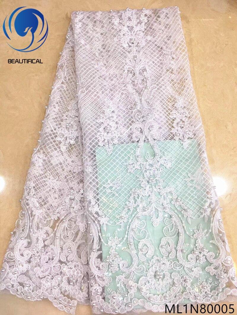 Красивые белые кружевные ткани французская чистая кружевная ткань тюль кружевная ткань блестящая ткань Лидер продаж материалы с бусинами