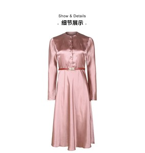 Image 1 - גבוהה כיתה אצטט סאטן שמלת אלגנטי הזדקנות ורוד