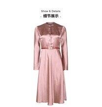 Wysokiej jakości satynowa sukienka z octanu elegancka starzejąca się różowa
