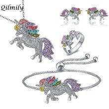 Qilmily набор из циркония с разноцветным единорогом, ожерелье и браслет и серьги и кольцо для женщин и девочек, Золотое кольцо, регулируемые ювелирные изделия, подарки