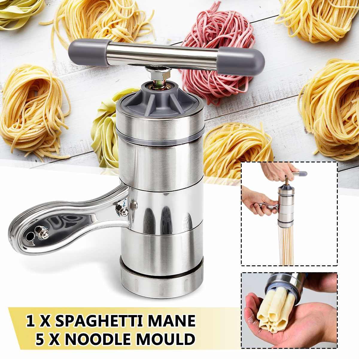 Stainless Steel Manual Pasta Machine Noodle Maker Pasta Spaghetti Press Machine Household Pressing Machine With 5 Pressing Mould image