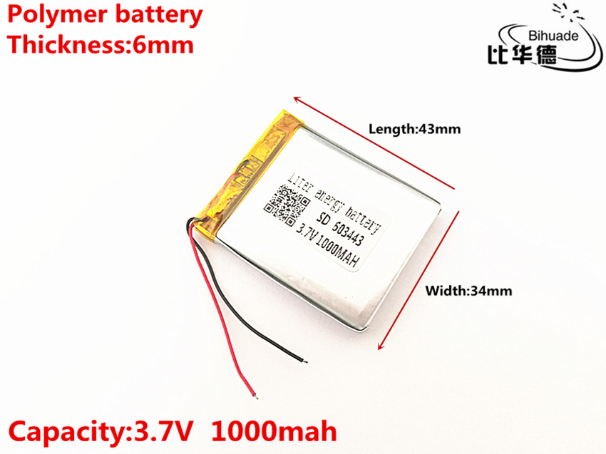 Liter energy <font><b>battery</b></font> 603443 <font><b>3.7V</b></font> <font><b>1000mAH</b></font> 583443 Polymer lithium ion / Li-ion <font><b>battery</b></font> for TOY,POWER BANK,GPS,mp3,mp4 image