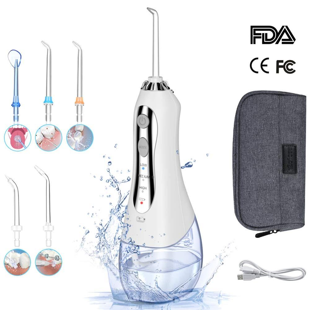Oral Irrigator 300ml Portable Dental Water Flosser Jet USB Rechargeable Water Floss Waterproof Irrigator Dental Teeth Cleaner