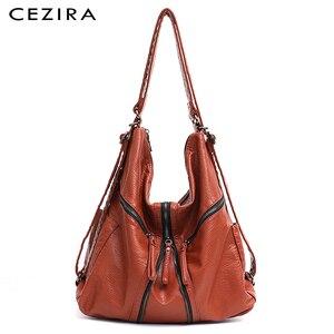 Image 1 - CEZIRA Large Washed PU Women Backpack Functional School Bag Luxury Vegan Leather Shoulder Laptop Bags Female Casual Zip knapsack