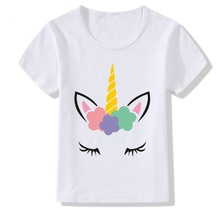 Classic New Children T-shirts White Print Colorful Unicorn Tees Girls Tops Modal Short Sleeve Kids Tshirts  Unisex tees