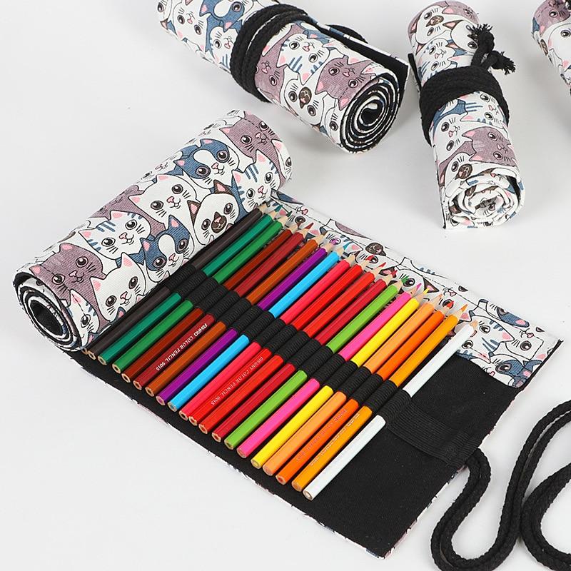 Cute Cat Roll Penal For School Pencil Case Big 12/24/36/48/72 Holes Pencilcase Girls Boys Cartridge Pen Bag Stationery Penalty