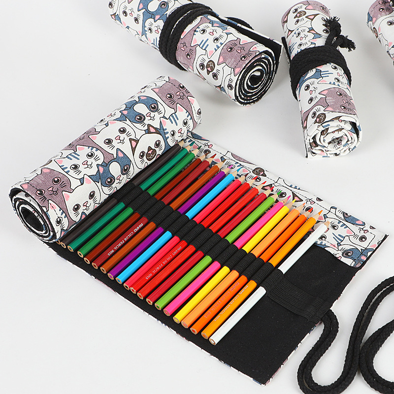 Cute Cat Roll Penal for School <font><b>Pencil</b></font> <font><b>Case</b></font> <font><b>Big</b></font> 12/24/36/48/72 Holes Pencilcase Girls Boys Cartridge Pen Bag Stationery Penalty image