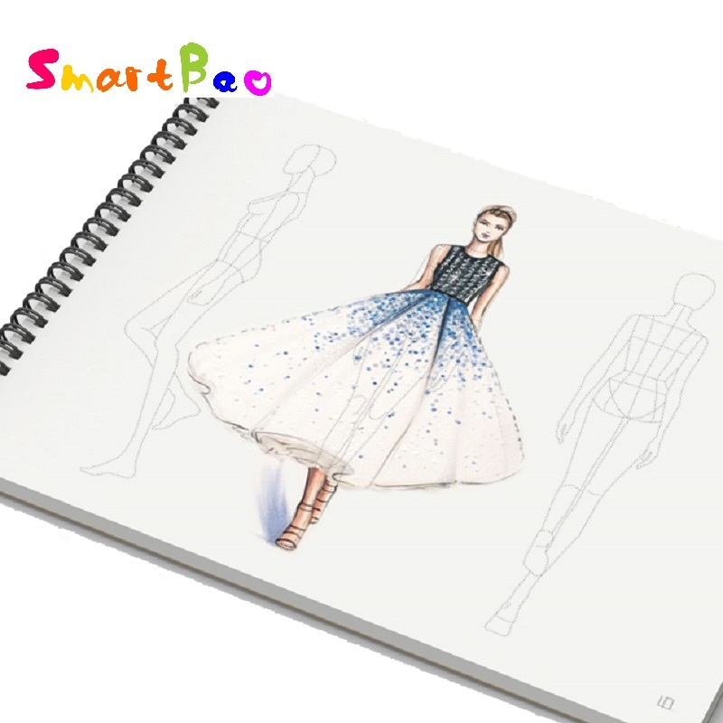 A4 Women Fashion Sketch Book Outline Template Women's Wear Fashion Illustration Templates Front, Back And Side Figure; 50 Sheets