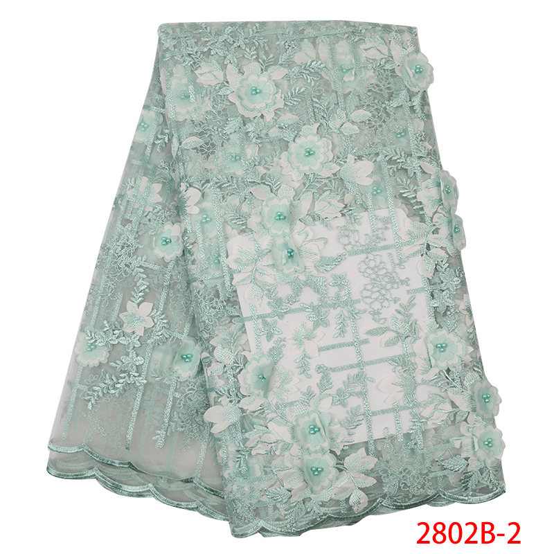 High Quality French Lace Fabric,3D African Lace Fabric 2019 High Quality Lace,Embroidery Nigerian Laces With Beads KS2802B-2