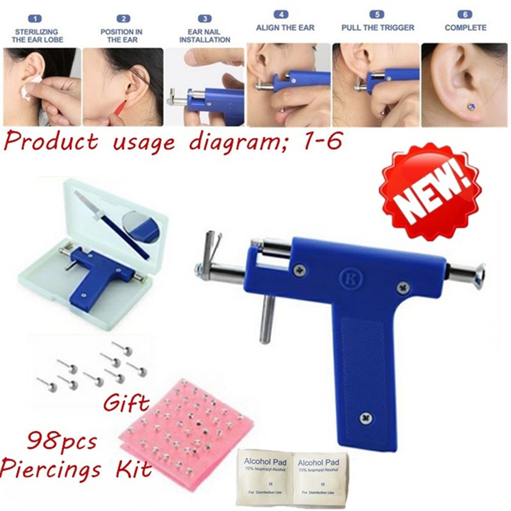 KKMOON Stainless Steel Body Piercing Tool Kit Professional Ear Nose Navel Piercing Machine With Ears Studs Tools