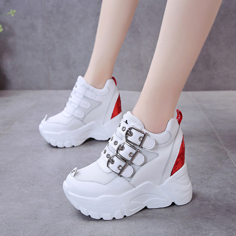 Rimocy Women's Hidden Heels Sneakers High Platform Buckle Casual Shoes Woman Shining Bling Thick Bottom Vulcanized Shoes Mujer
