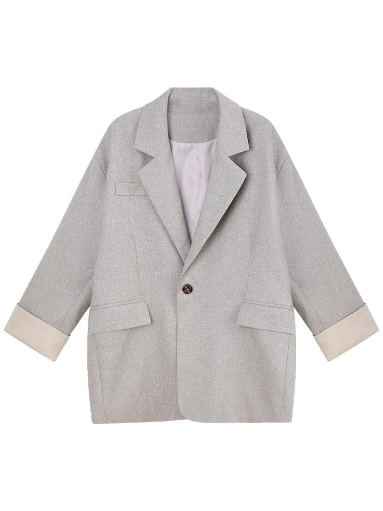Casual Vintage Ladies Blazer Loose Solid Gray Simple Suit Jacket Blazer Femme Hiver Stylish Korean Women Blazer Spring MM60NXZ