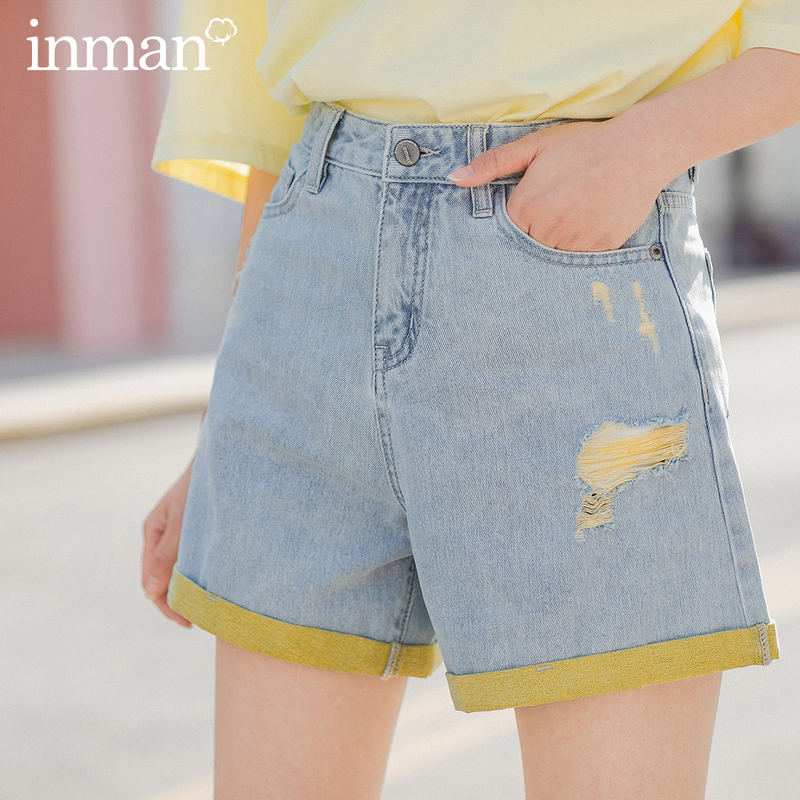 INMAN 2020 Summer New Arrival Pure Cotton Contrast Color Fashion Hole Sport Style Shorts