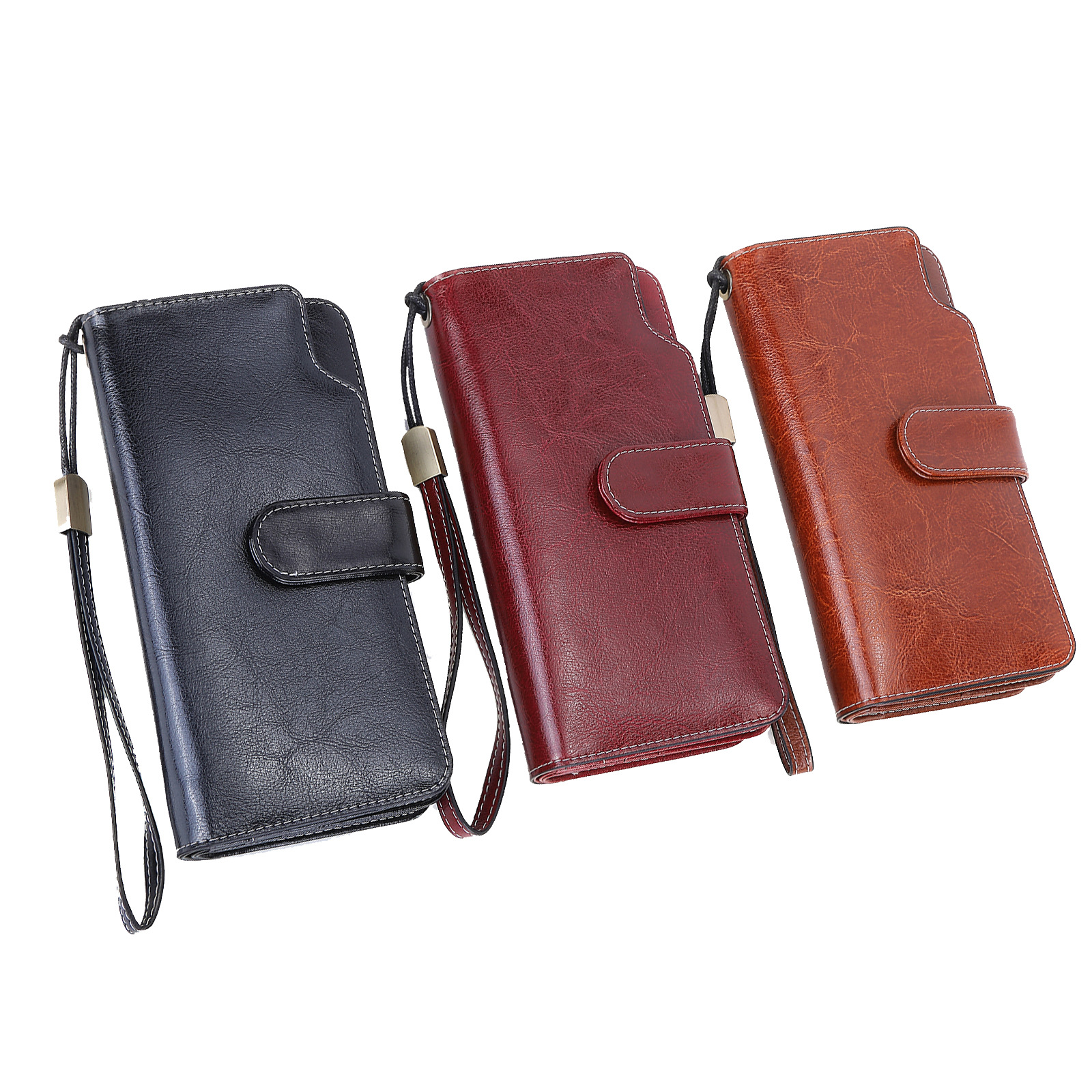 GROJITOO Oil wax cowhide women's wallet long Korean style women's handbag multi-card genuine wallet women's wallet handbag