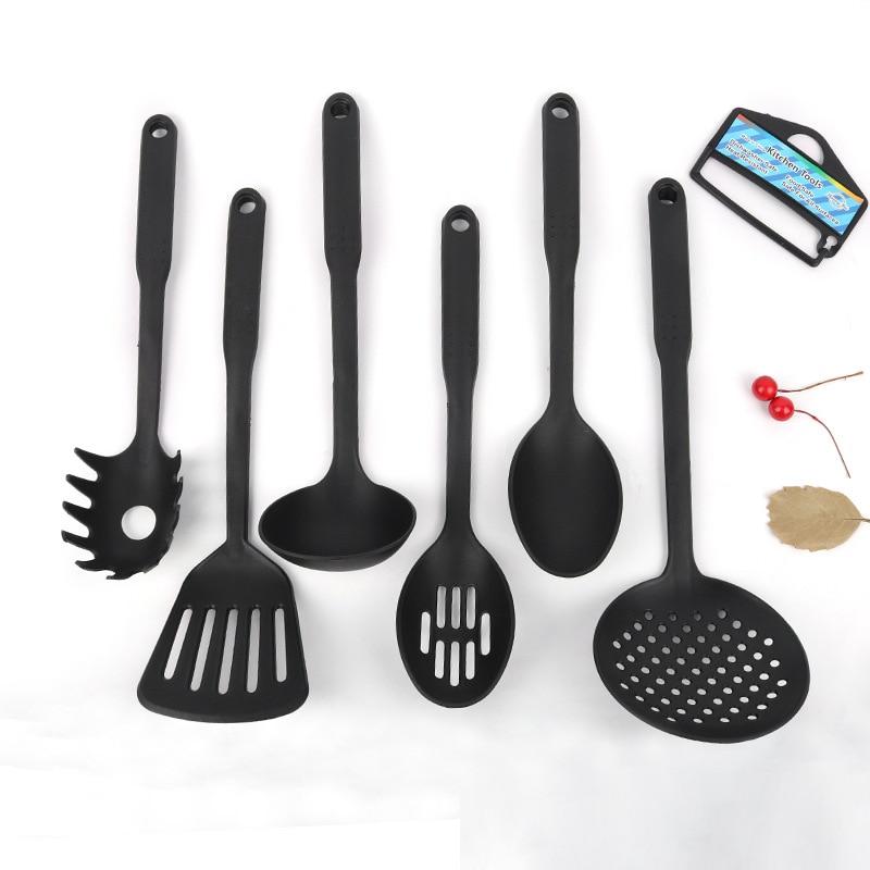 6Pcs/Set Rubber Kitchen Utensils Set Non-stick Kitchenware Cooking Tools Spoon Spatula Kitchen Tools Accessories