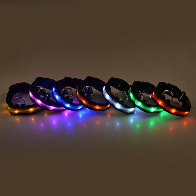 1PC Nylon LED Dog Collar Lamp With Dog Collar Night Safety Flashing Glow In The Dark Luminous Fluorescent Collars Pet Supplies 2