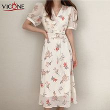 VICONE  summer short sleeve v-neck waist dress