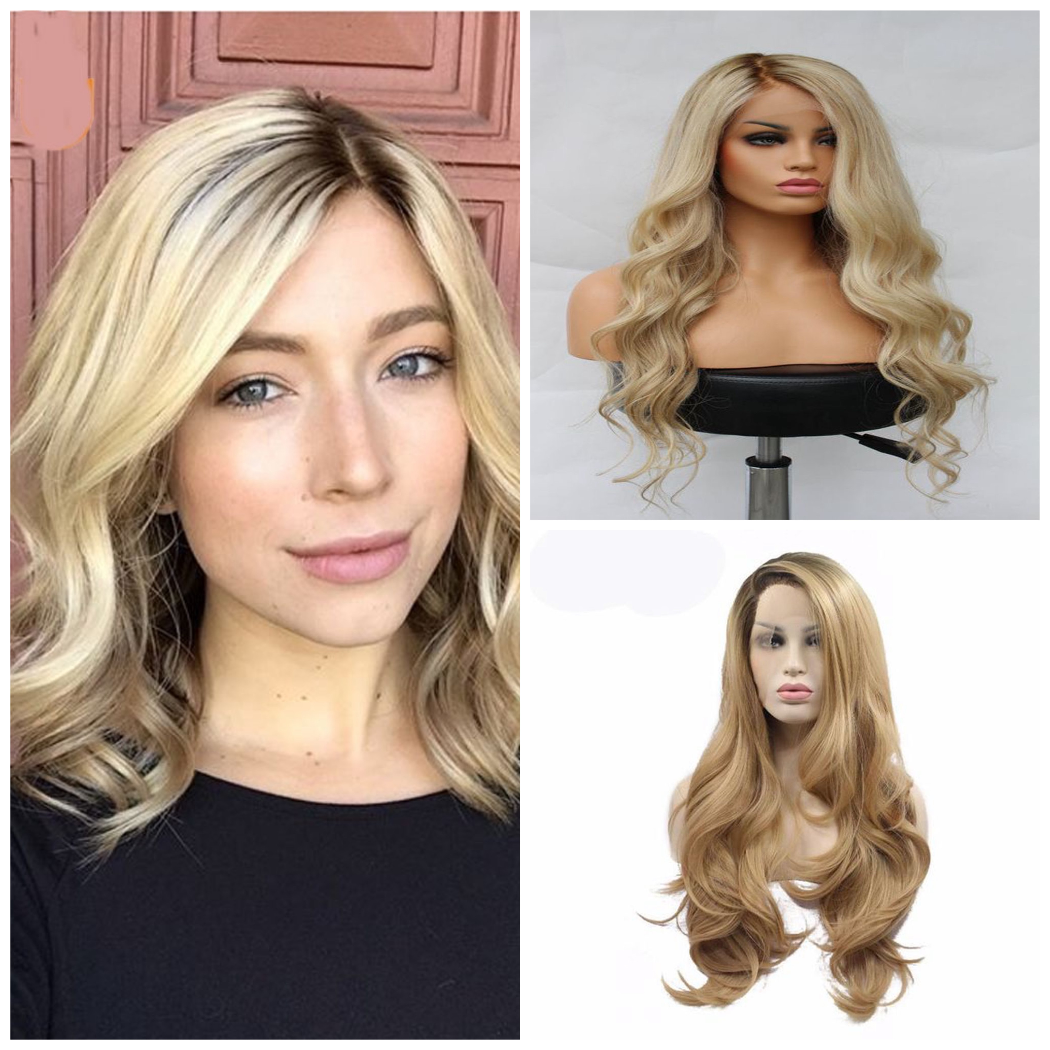 1B/613 360 lace Wig Blonde Human Hair Wigs For Black Women Brazilian Wave Virgin Hair Wig Pre Plucked With Baby Hair image