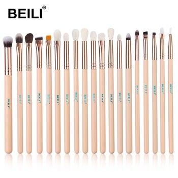 BEILI Matte Pink Makeup Brushes Set goat hair Powder Foundation Concealer Blush Eyeshadow rose gold natural hair Make up brushes 12