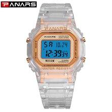 PANARS Fashion Digital Watch Women Rose Gold Luminous Transparent LED Sport Unisex 5Bar Waterproof Swim Alarm Wrist