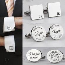 Boutons de manchette personnalisés pour hommes, en acier inoxydable, pour chemise, cadeaux de mariage