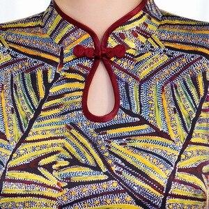 Image 4 - 2020 אביב חדש משי cheongsam ארוך יומי השתפר כבד משקל cheongsam שמלת תות משי cheongsam גבוהה כיתה