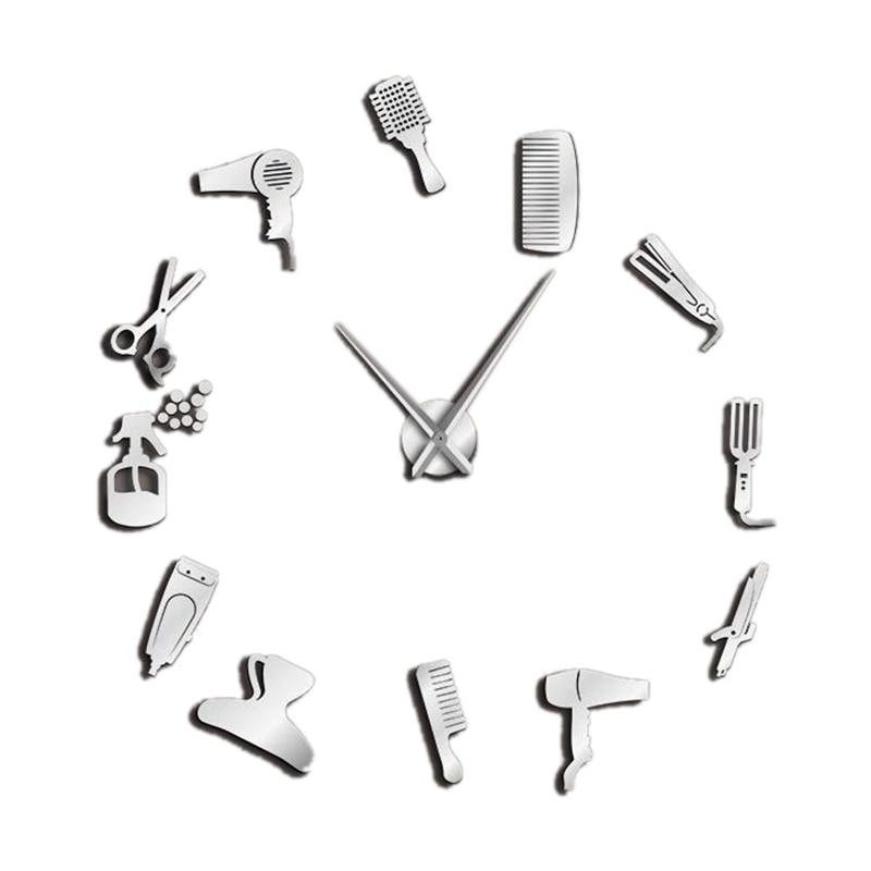 Diy Barber Shop Giant Wall Clock With Mirror Effect Barber Toolkits Decorative Frameless Clock Watch Hairdresser Barber Wall Art