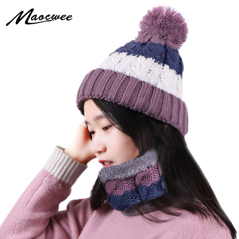 Winter Beanies Pompon Hat And Scarf Set For Women Knitted Fashion Thick Warm Bonnet Cap With Lining Casual Neck Ring Scarf Sets