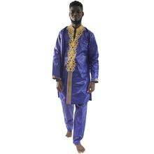 Suit Attire Traditional African Dashiki Bazin 2pieces MD Shirt Formal Men Pants-Set Top-Trouser