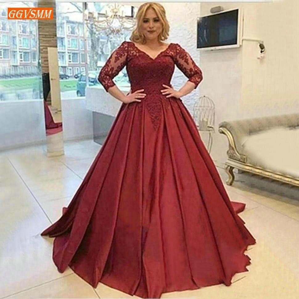 Fabuleux bordeaux col en V robes de soirée longues 3/4 manches dentelle Applique une ligne formelle Occasion robe personnalisée robes de soirée