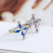 2019 New Fashion Popular 18k Gold Purple Blue Double Color Crystal Horse Eye Gem Double Color Ring Ladies Ring Jewelry Gift(China)