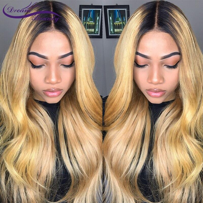 Парик блонд Омбре #1B/27 цветов 13x4, парик на сетке спереди, волосы без повреждений, 180% бразильские волнистые человеческие волосы, парики для же...