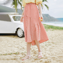 INMAN 2020 Summer New Arriavl Elastic Waist Literary Irregular Splicing A-line Plaid Skirt