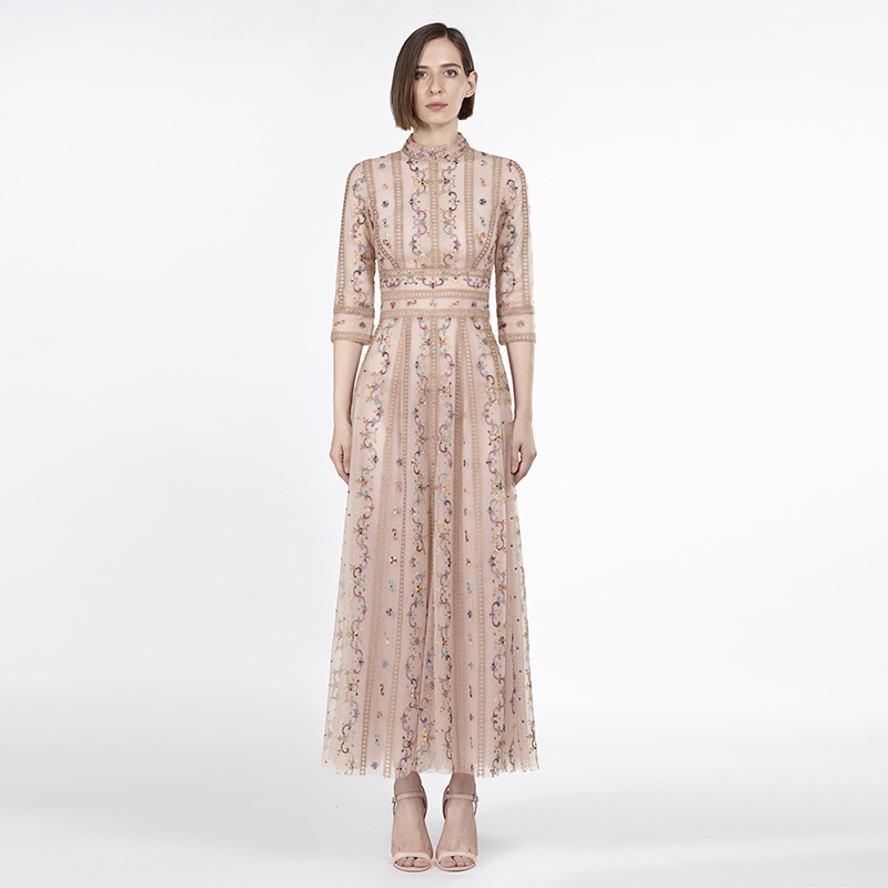 Runway High Quality Elegant Mesh Lace Embroidery Dress Women Bohemian Embroidered Floral Flowers Maxi Long Sleeve Ukraine Dress