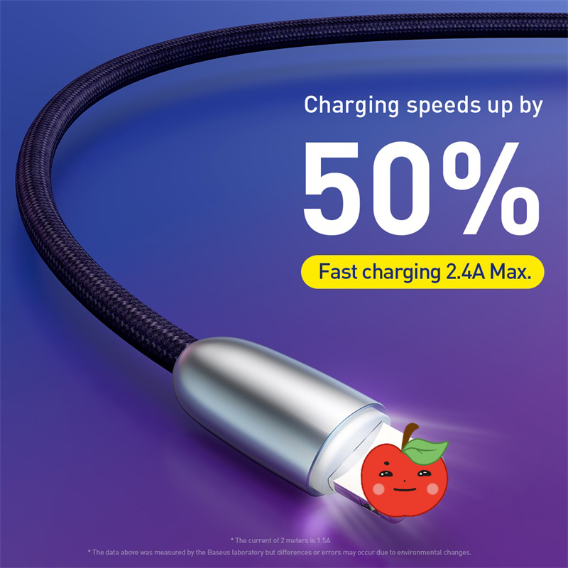 <font><b>Baseus</b></font> USB Cable For <font><b>iPhone</b></font> 11 Pro XS Max XR Xs 8 7 <font><b>6</b></font> <font><b>6s</b></font> Plus SE 5s 2.4A Fast Charging indicator light Charger Data Cord Cable image