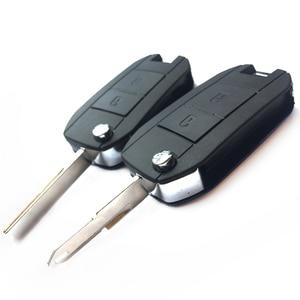 Image 5 - 2 düğme Peugeot 307 206 207 Citroen C2 modifiye uzaktan anahtar kabuk Fob kapak katlanır araba anahtarı durum kapak ile kesilmemiş bıçak