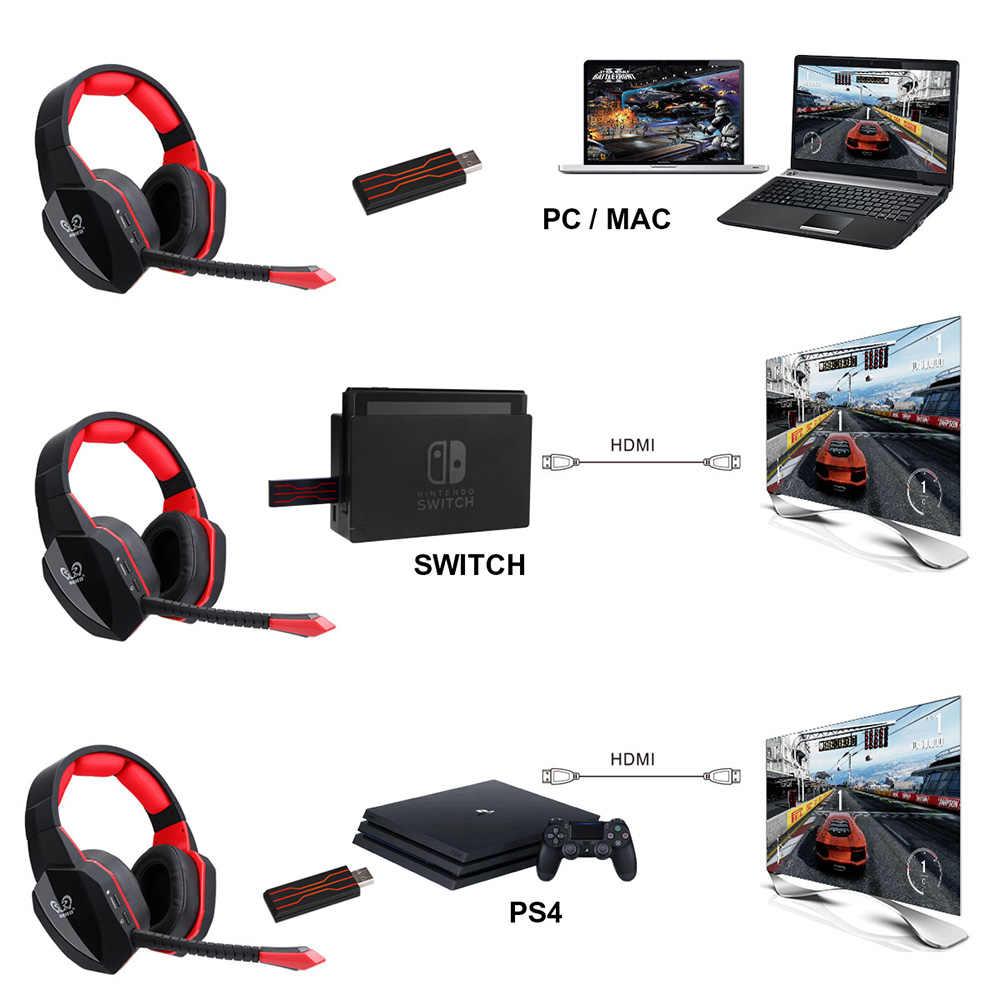 2.4 グラム usb ワイヤレス 7.1 ゲーミングヘッドセットヘッドフォン pc のコンピュータ用の PS4 テレビプロフェッショナルゲーマーサラウンドサウンド低音