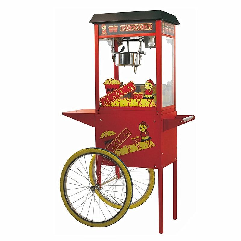 220V popcorn machine commercial tempered glass belt cart movie theater KTV popcorn machine luxury roof popcorn machine